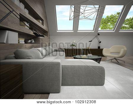 Interior of stylish mansard room 3D rendering 3