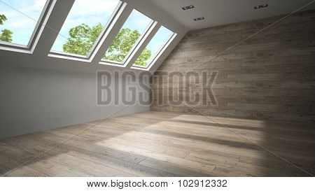 Empty mansard room with wooden wall 3D rendering