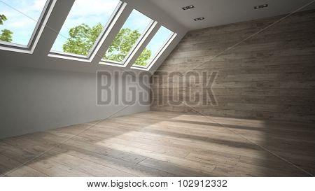Empty mansard room with wooden wall 3D rendering