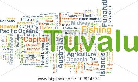 Background concept wordcloud illustration of Tuvalu