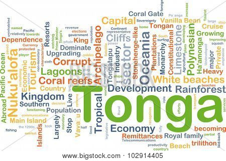 Background concept wordcloud illustration of Tonga
