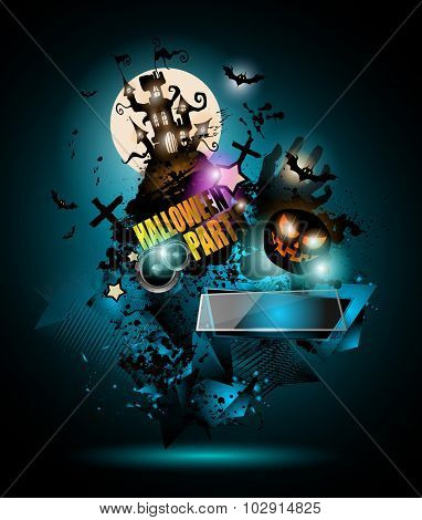 Halloween Night Event Flyer Party template with Space for text. Ideal For Horror themed parties, Clubs Posters, Music events and Discotheque flyers.