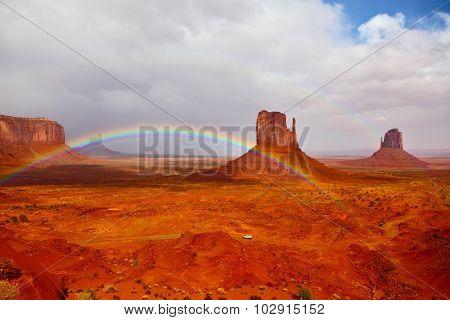 Red stone desert Navajo, USA. Isolated rocks -