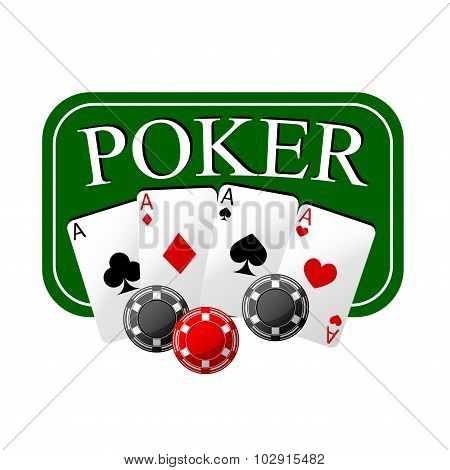 Poker emblem with cards and casino chips