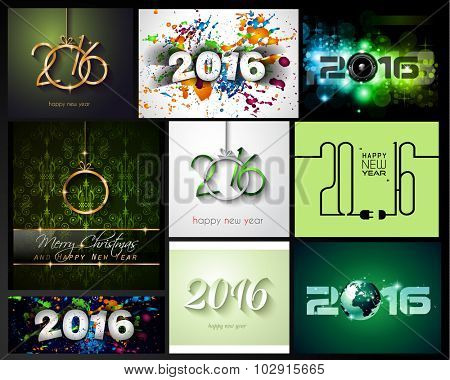 2016 Happy New Year Background Collection for your Christmas Flyers, dinner invitations, festive posters, restaurant menu cover, book cover,promotional depliant, Elegant greetings cards and so on.