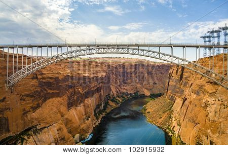 Old Navajo Bridge Crosses The Colorado Canyon
