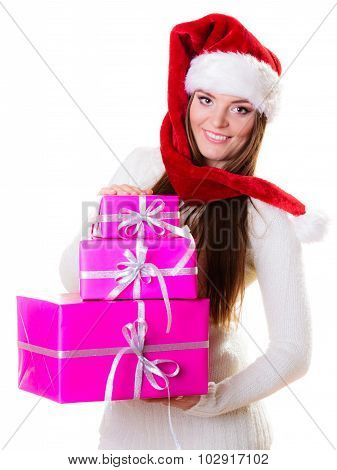 Woman Santa Helper Hat With Many Pink Gift Boxes