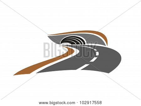 Mountain road tunnel abstract icon