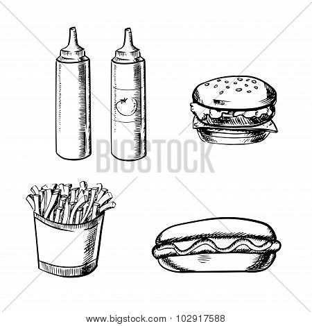 French fries, burger, hot dog and condiment