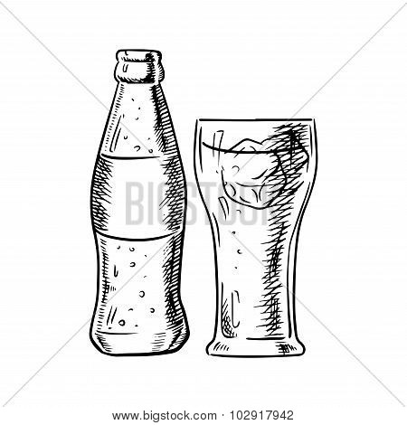 Bottle of soda and filled glass with ice