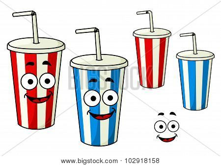 Cartoon takeaway soda striped cups