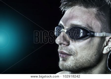 Swimmer portrait in goggles
