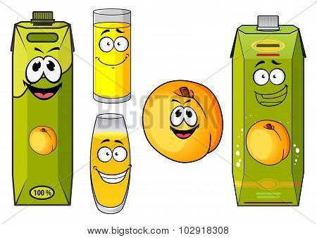 Cartoon peach juice packs, fruits and glasses