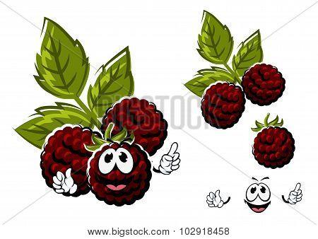 Cartoon blackberry berries fruits with leaves