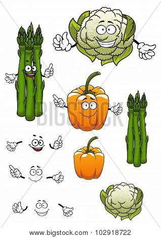 Cartoon asparagus, cauliflower and bell pepper