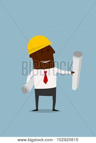 Cartoon engineer or builder with blueprints