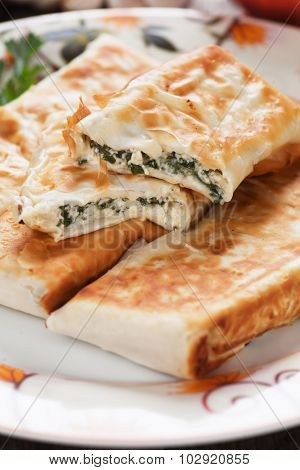 Borek or pita, filo pastry with cheese and chard or spinach filling