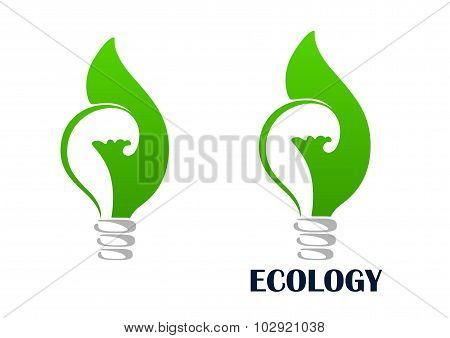 Green energy light bulb with leaf icon