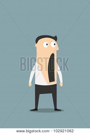 Shocked businessman with open mouth