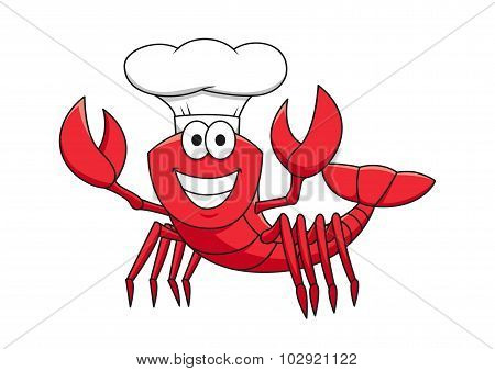 Cartoon red lobster chef in white cook hat