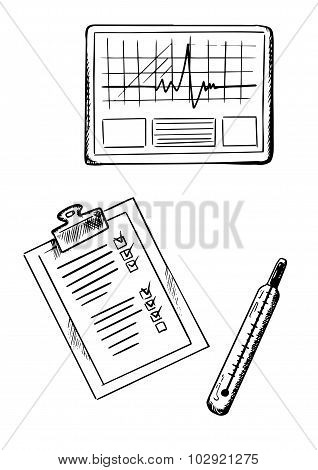 Cardiogram, medical history, thermometer sketches