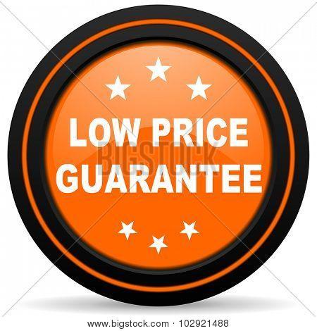 low price guarantee orange glossy web icon on white background