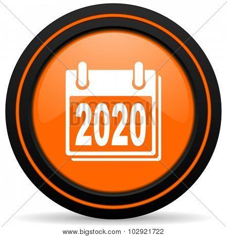 new year 2020 orange glossy web icon on white background