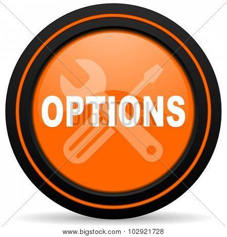 options orange glossy web icon on white background