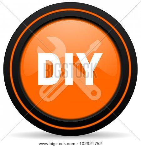 diy orange glossy web icon on white background