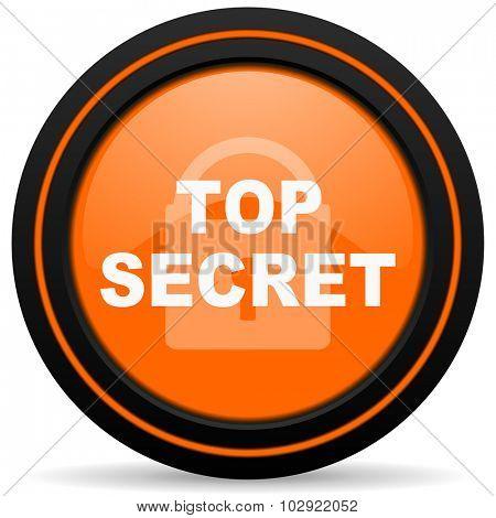 top seret orange glossy web icon on white background
