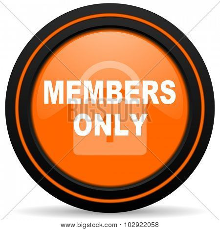 members only orange glossy web icon on white background