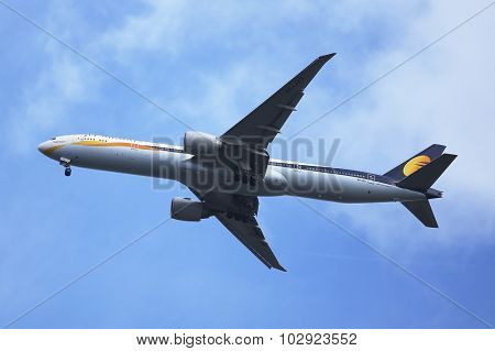 Jet Airways Boeing 777 descending for landing at JFK International Airport in New York