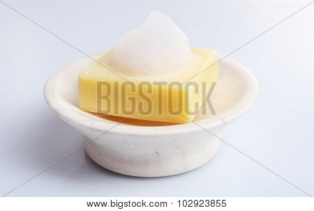 Soap with foam isolated on white