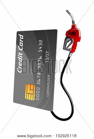 Credit card with gas pump nozzle