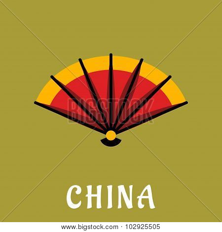 Chinese open folding fan in flat style