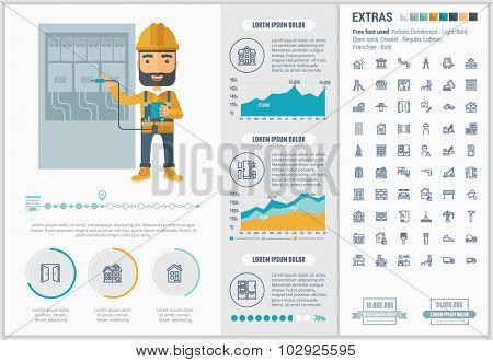 Construction infographic template and elements. The template includes illustrations of hipster men and huge awesome set of thin line icons. Modern minimalistic flat vector design.