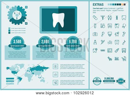 Stomatology infographic template and elements. The template includes illustrations of hipster men and huge awesome set of thin line icons. Modern minimalistic flat vector design.