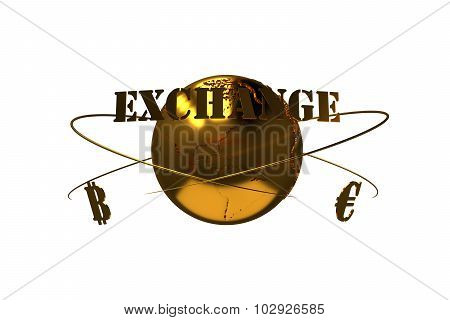 Cryptocurrency. Bitcoin exchange for euros. Arrows around planet earth and world currency. Path incl