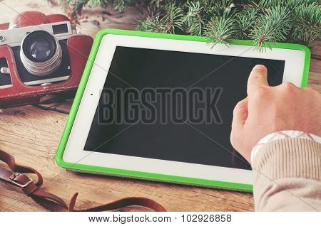 Male Hand Click The Blank Screen Tablet Computer Close Up