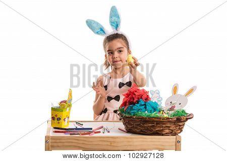 Girl Showing Yellow Easter Egg
