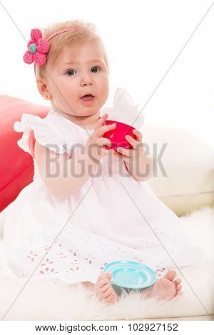 Baby Girl  Playing With Cup Tea Toy