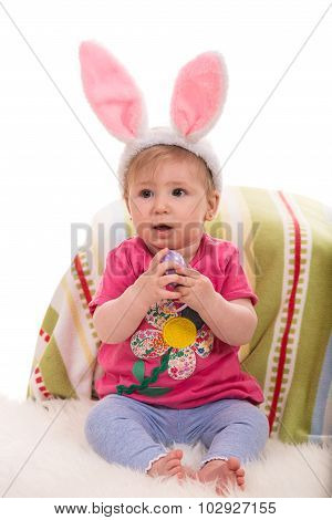 Beautiful Baby Girl With Bunny Ears