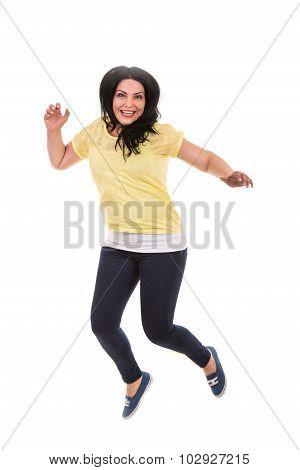 Jumping Casual Woman