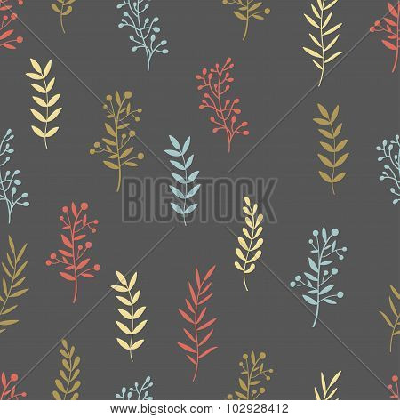 Hand drawn nature brunch seamless pattern