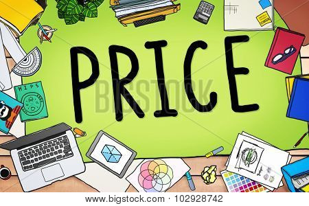 Price Cost Value Money Amount Rate Commerce Concept