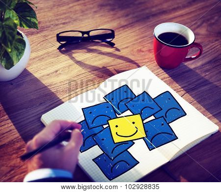 Smiley Outstanding Positive Happiness Contrast Concept