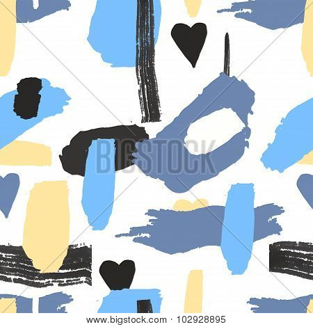 Saemless pattern freehand elements with ink. Vector. Isolated. Pastel color