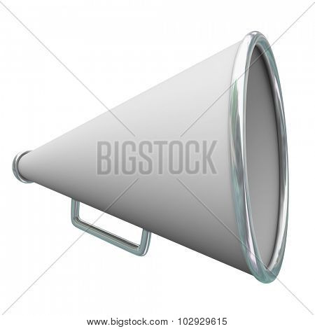 White megaphone or bullhorn for sharing communication, information, messages or announcements
