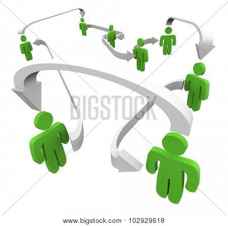 Green connected people networking in communication as they share or spread information