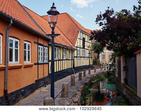 Typical Small Street With Old Houses Denmark